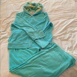 Lilly Pulitzer light blue velour Sweatsuit